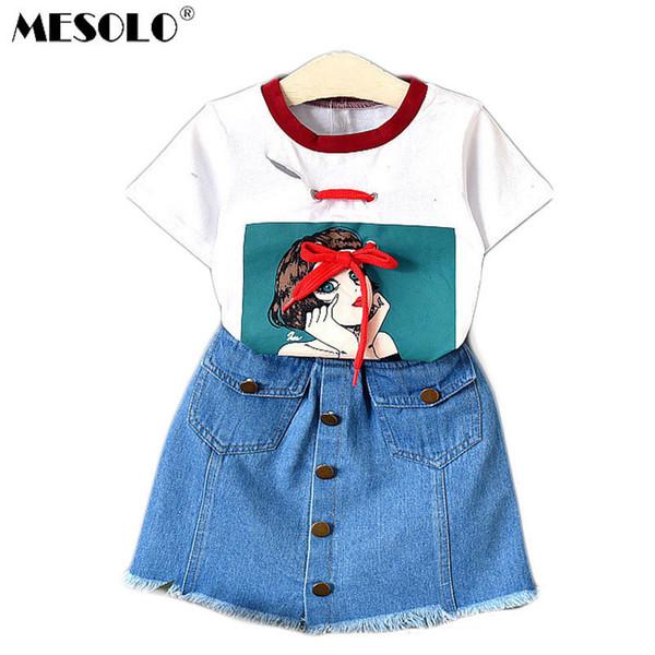 Boa qualidade Crianças verão novas meninas moda estilo ocidental denim saias linda manga curta T-shirt 2019 novos produtos