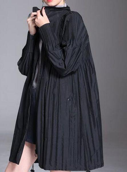 2019 New Spring Lapel Long Sleeve Black Loose Zipper Big Size Long Pleated Jacket Women Coat Fashion Tide