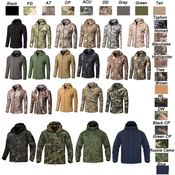 top popular Outdoor Woodland Hunting Shooting Clothing Tactical Camo Coat Combat Clothing Camouflage Outdoor Hoody Softshell Jacket NO05-201 2021