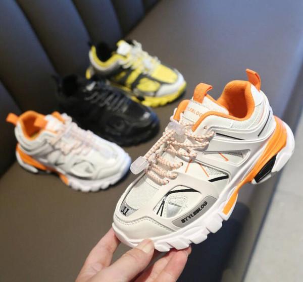 Paris Üçlü S 17FW Tress 3.0 Parça Lüks Tasarımcı Çocuk ayakkabıları Erkek Kız Çocuk Spor Koşu Ayakkabıları Nefes Örgü ayakkabı Gençlik 28-37