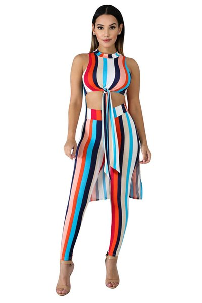 New Women Sets Summer Women's Set Striped Print high low maxi Top pants 2 piece set tracksuit Casual outfit