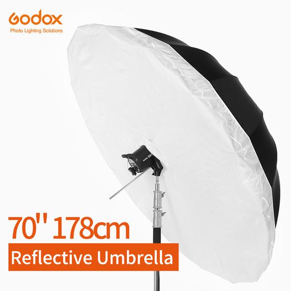 Godox Studio Photogrphy Umbrella 70 Zoll 178cm Schwarz Silber Reflektierender Regenschirm + Große Diffusorabdeckung für Studioaufnahmen