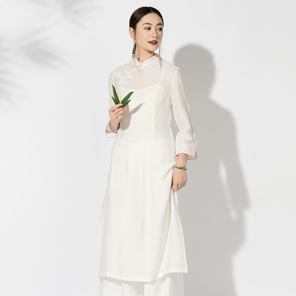 Femme Vintage Oriental Robe chinoise en lin coton mince Outwear asiatique Vietnem Ao Dai Mori solide manches pleine fille Vêtements