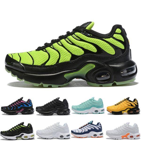 Nike Air TN Plus Sıcak 2019 TN Çocuk Spor Ayakkabıları Çocuk Erkek Basketbol Ayakkabı Çocuk Huarache Legend Mavi Sneakers Boyut 28-35