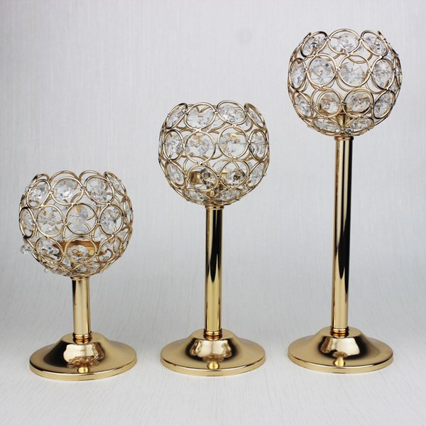 30pcs/lot small crystal ball candle holder tea-light candlestick wedding crystal table decor centerpieces for wedding event party planner