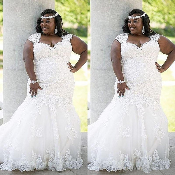 top popular Stunning African Lace Wedding Dress Plus Size Country 2020 Elegant Mermaid Sexy Bridal Gowns Bride Dress Curvy Brides 2020