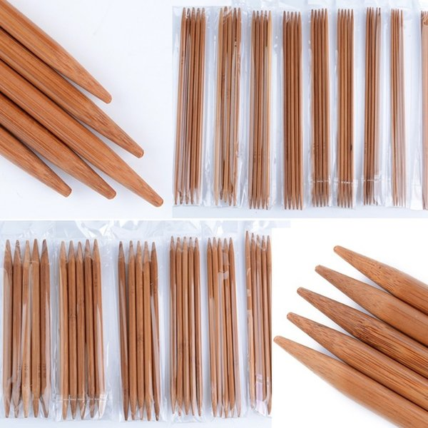 Sewing 75pcs 15Sizes 20cm Bamboo Knitting Needles Crochet Hooks 8 Double Pointed Carbonized Bamboo Needles Sweater Weave Craft