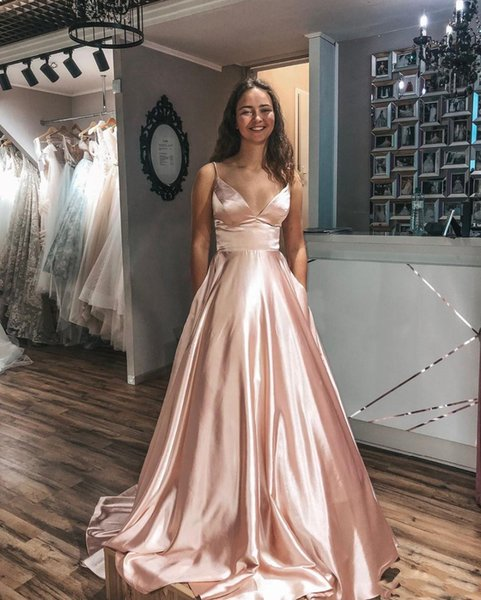A-line Prom Evening Dress 2020 Elegant Spaghetti Straps Sleeveless Long Prom Gowns Sweep Train Formal Dresses With Pockets