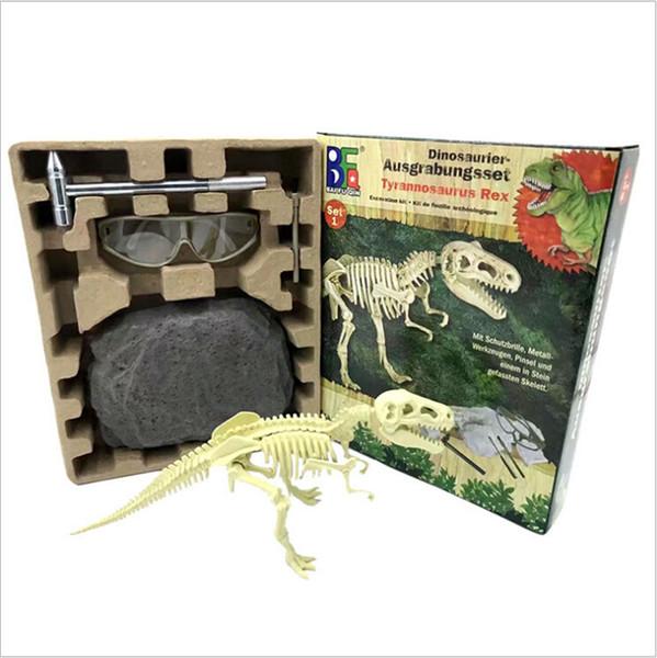 Mining Archeology Dinosaur Fossil Skeleton Figure 6pcs/set Plastic World Play Toys Dinosaur Collectible Model Toy