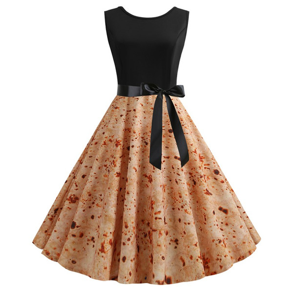 Hot sale women dress vintage printed Mexican Hepbur style sleeveless banquet party dresses for ladies fashion dress