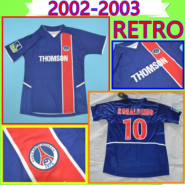 # 10 Ronaldinho # 11 Chulapa # 9 Cardetti 2002 2003 psg Retro soccer Jersey 02 03 classic parigi commemora Vintage 02/03 Maillot French Ligue1
