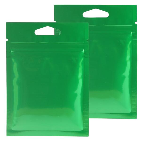 8x11cm Glossy Green Aluminium Foil Mylar Pouches Heat Seal Reclosable Flat Ziplock Bags W/Hang Hole hot crimp bag