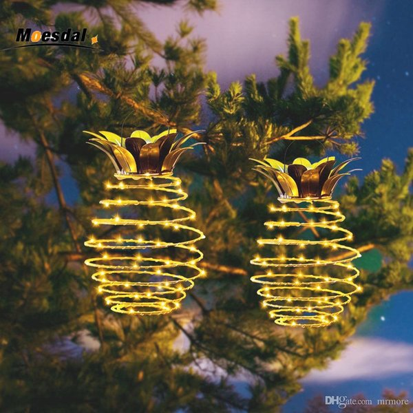 MOESDAL New Garden Solar lights pineapple lights Hanging outdoor Decor Waterproof Wall Lamp Decorative lantern Lamp
