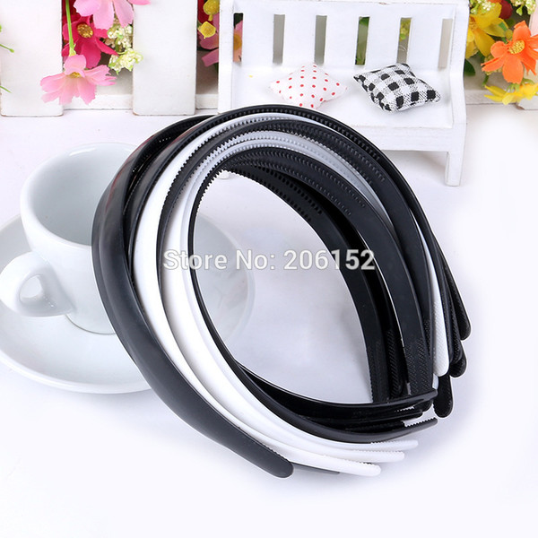High quality ABS 15mm Black/White Plain Lady Plastic Headband WITHTeeth DIY Resin Hairband Hair Hoop Hair Accessories Headwear