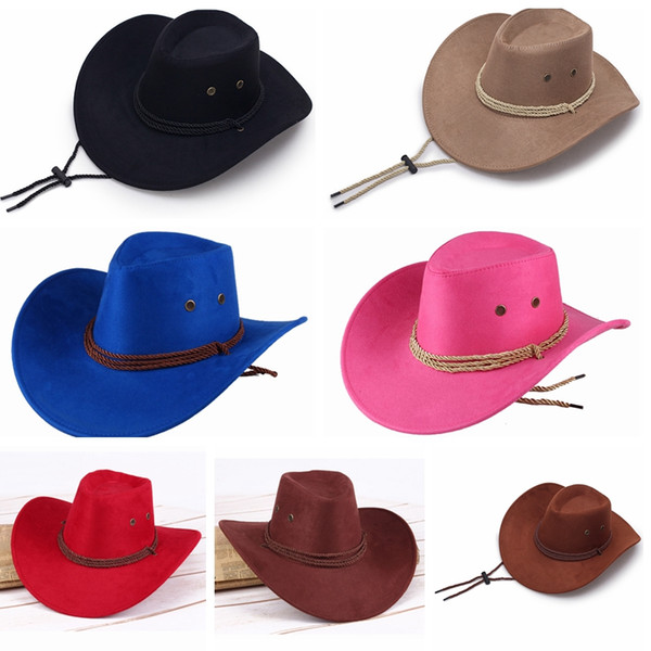 Western Unisex Cowboy Hats Men Retro Sun Visor Knight Hat Cowgirl Wide Brim Hats Summer Outdoor Tourism Headwear TTA833