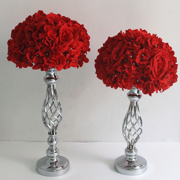 Vases Silver Candle Holders Stand Wedding Decor Road Lead Table Centerpiece Rack Pillar Party Candlestick Candelabrab first0008