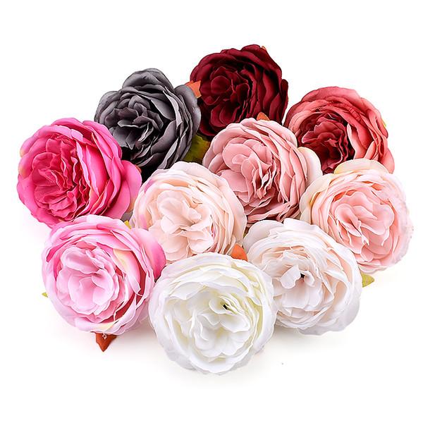 3.5 polegadas Grande Peônia Artificial Rose Silk Cabeças de Flor Para A Decoração Do Casamento DIY Grinalda Scrapbooking Artesanato Flores Falsas