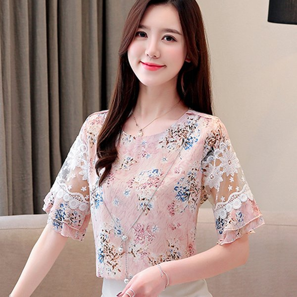 b31105849d9cae New Women Blouses Chiffon Half-Sleeve Shirts O-neck Printed Floral Blouse  Casual Flare