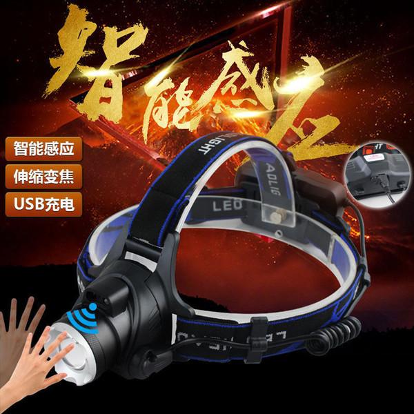 Popular Ao Ar Livre V9 T6 Faróis de Indução Faróis de Luz USB Carga Interruptor de Zoom Sem Fio Ir Lâmpada De Pesca