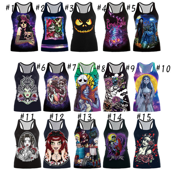 15 Style Summer Women's girl Printed vest top Casual Cotton Loose Blouse Shirt Tops T-shirt women clothes Halloween them By DHL free Ship