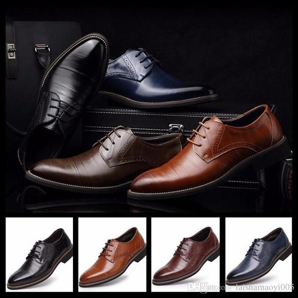 Fashion Brown Black Mens Hochzeit Schuhe Ponited Toes Grooms Schuhe Casual Pu-Leder-Schuhe für Männer Party Business Groomsmen