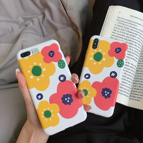 Yellow Flower Cell Phone Case Liquid Silicone For Iphone Xr 6 7 8 X Plus Xs Max Side Pattern Covering Soft Phone Cases