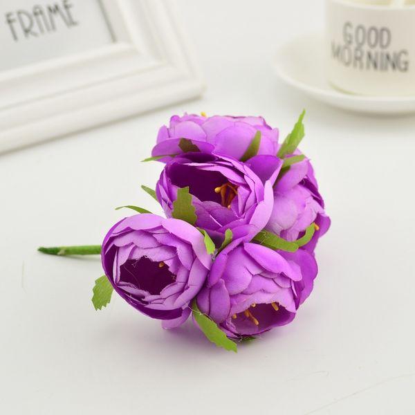 6pcs Silk Small Tea Bud Rose Artificial Flower Bouquet Stamens For Home Wedding Decoration Diy Wreath Clothe Hats Accessories