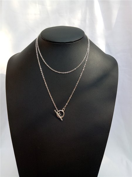 cecmic silver coross connector double layer chain necklace jewelry long silver necklace