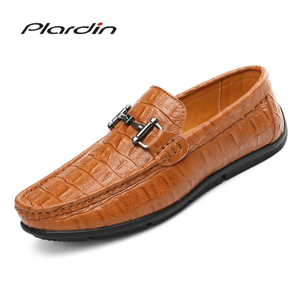 plardin brand fashion casual cutouts soft comfortable men loafers sewing concise leather shoes man flats shoes