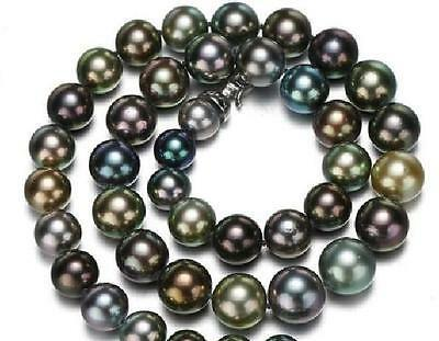 """top popular 100%real fine pearls jewelry huge 18"""" 10-12mm tahitian black multicolor pearl necklace 14k not fake 2021"""