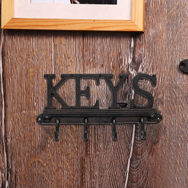 Cast Iron Wall Mounted 4 Hook Key Holder - Rustic, Vintage Style Rack with Hooks for Keys
