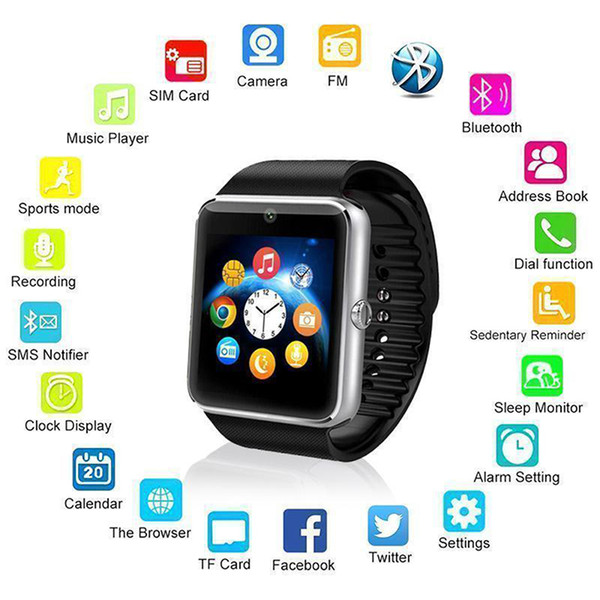 GT08 Bluetooth Smart Watch Phone Mate SIM Slot Camera For Phone Android
