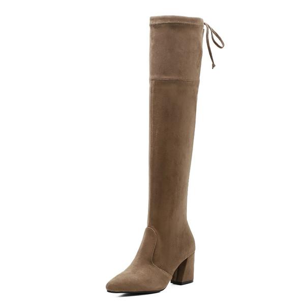 2018 diz çizmeler üzerinde yüksek topuklu soba borusu sivri kadın çizmeler dış ticaret süet dantel brwon 0109
