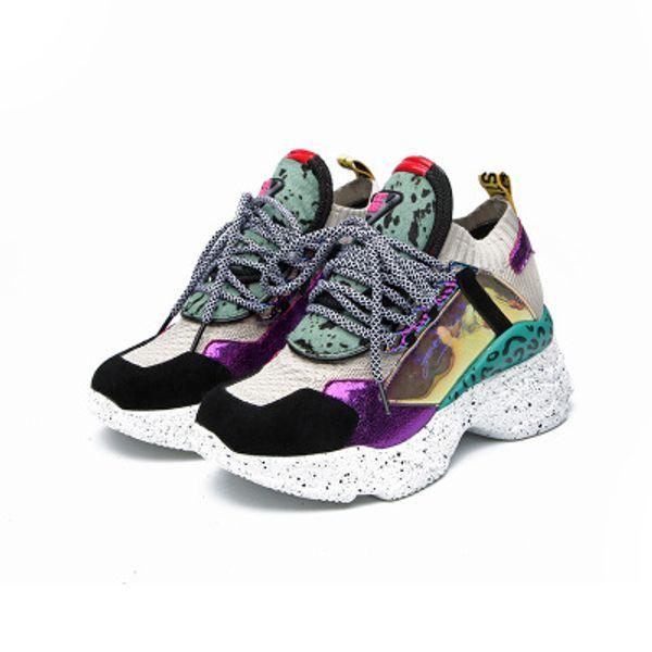 2019 nouveaux souliers léopard occasionnels à semelles épaisses, vieilles chaussures, chaussures simples, pour aider les femmes à laçage en laine et en laine