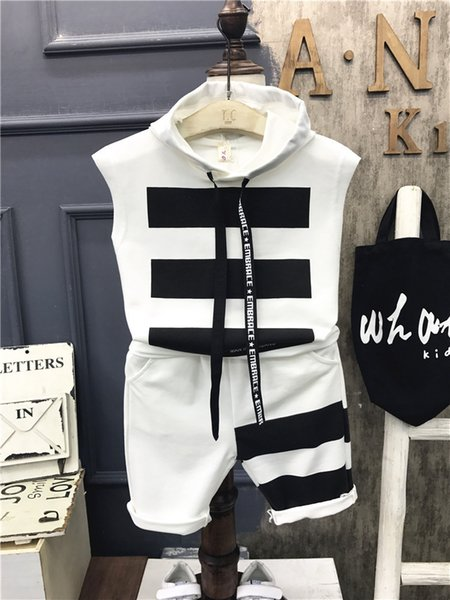 2pcs Kids boys fashion clothing set baby hooded sleeveless white black striped shirt and short boy casual clothes children 2-7T