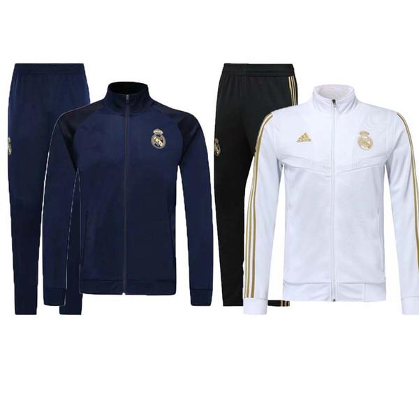 Nuevo 2019 Real Madrid chándal chaqueta de fútbol con cremallera completa chándal 19/20 de pie ISCO Real Madrid chaqueta pantalón Chandal Traje de entrenamiento kit
