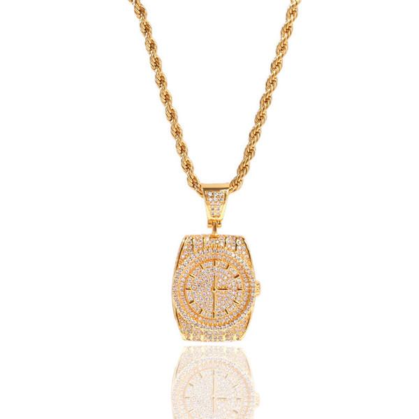 Quartz Pocket Watch Dial Pendant Necklace Mens Hiphop Jewelry Bling Cubic Zirconia Ice Out Hip Hop Men Necklaces