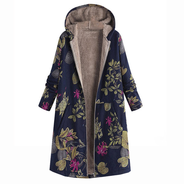 Fashion Womens coat Winter Warm anglicism coat women Outwear Floral Print Hooded Pockets Vintage Oversize Coats Womens