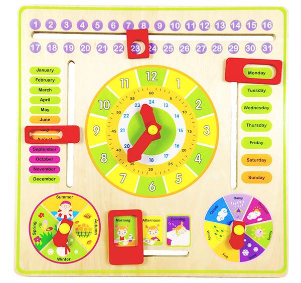 Reloj de educación multifuncional Calendario Reloj de madera Juguetes educativos para bebés Aprendizaje temprano Desarrollo de inteligencia Juguetes regalo para niños
