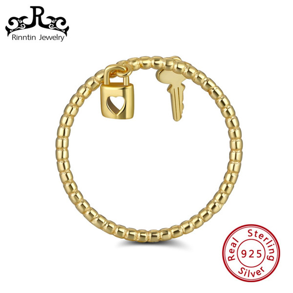 Rinntin 925 Sterling Silber Schloss Schlüsselanhänger Liebhaber Ring Für Frauen Korean Wedding Bands Jubiläum schmuck Geschenk Großhandel SR104