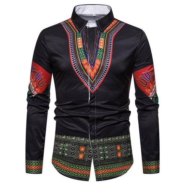 Long Sleeve African Floral Man Shirt Fashion Covered Button Male Tops Ethnic Style Print Men Blusa Festival Costume Loose Shirts