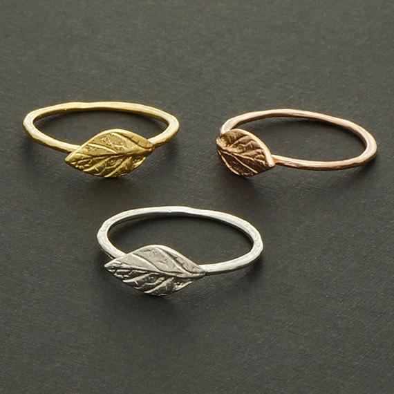 Simple Nature Leaf Ring Cute Olive Maple Plant Tree Leaf Ring Feather Ring Vine Rings for Ladies Women Wedding blessing jewelry