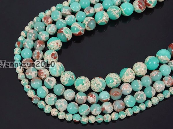 Natural Green Shoushan Stone Gems Stone Round Beads 15'' Strand 4mm 6mm 8mm 10mm 12mm for Jewelry Making Crafts 5 Strands/Pack