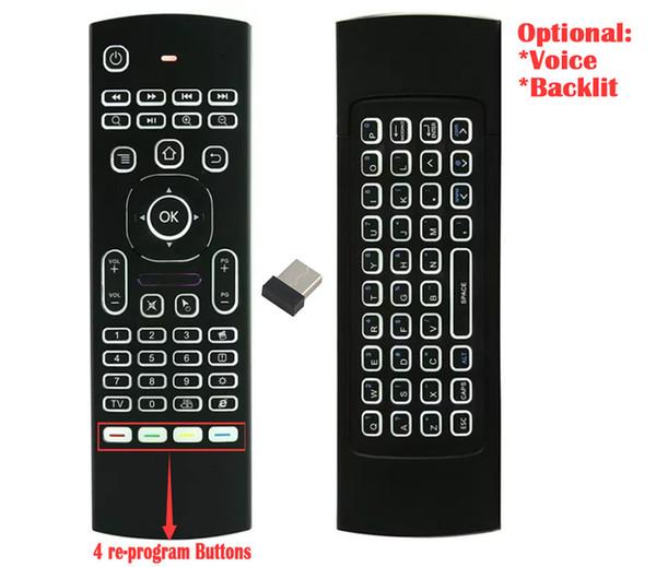 1 unids por encargo MX3 X3 T2 con retroiluminación No micrófono Mini 2.4 GHz Inalámbrico Giroscopio Teclado Air Mouse Remoto G-Sensor Para STB Android TV BOX