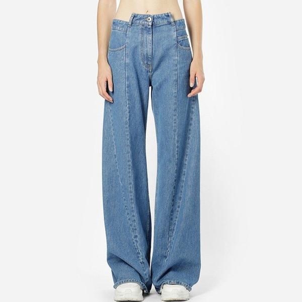 Patchwork Jeans Feminina de Cintura Alta Assimétrica Longa Larga Calças de Perna Para As Mulheres 2019 Primavera Moda Casual Maré