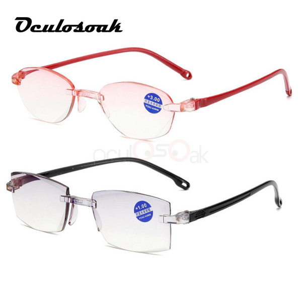 Rimless Diamond Trimming Reading Glasses+1.0 +1.50 +2.0 +2.50 +3.0 +4.0 For Men Women Elderly Anti Blue Light Reading Glass