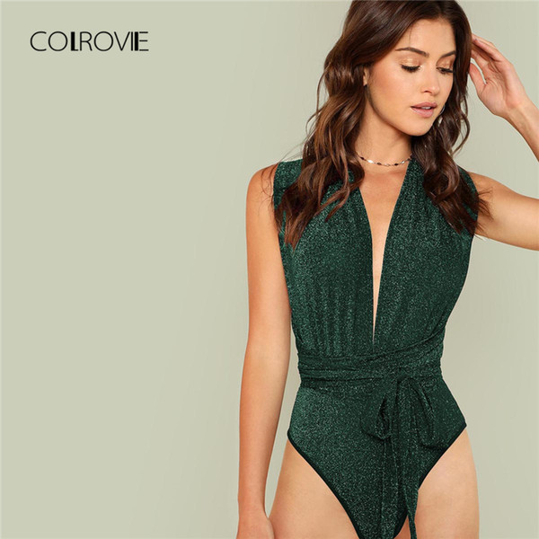 COLROVIE Green Deep V Neck Criss Cross Waist Belted Skinny Bodysuit Autumn Night Out Sexy Bodysuit Sleeveless Women Bodysuits