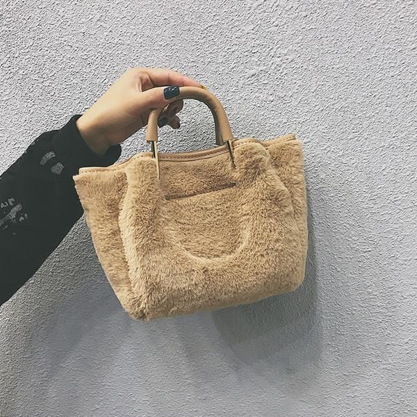 2018 New Fashion Soft Faux Fur Bag Small Women For Winter Short Handle Handbag Ladies Cross-body Tote Woman Shoulder Hand Bags