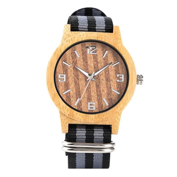 Mode Quarz Holz Uhr Bunte Korn Leichte Handgemachte Holz Armbanduhren mit Ausgewählten Nylonband für Männer Frauen