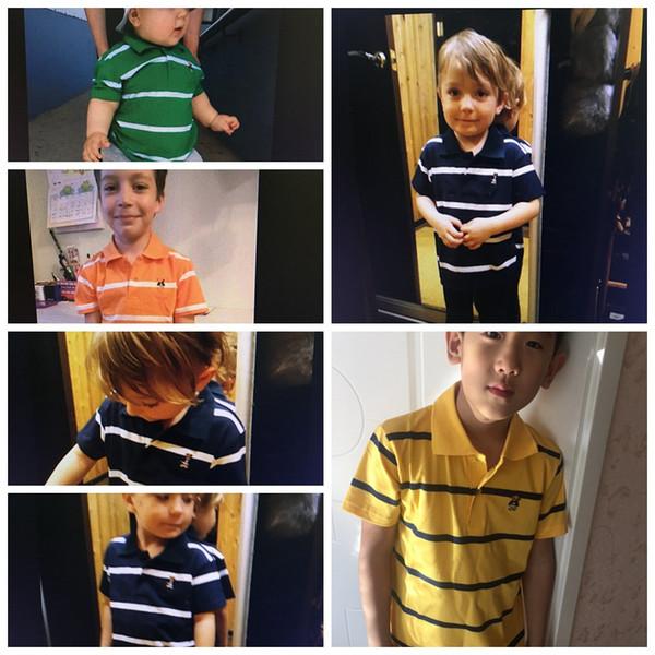 T Shirt Kids Clothes Turn-down Collar Baby Boy Summer Top Tshirt Color Stripes Vetement Enfant Fille Camisetas Fnaf